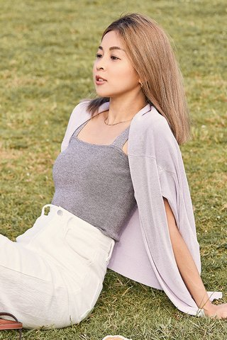 *Backorder* Brea Knitted Top in Grey