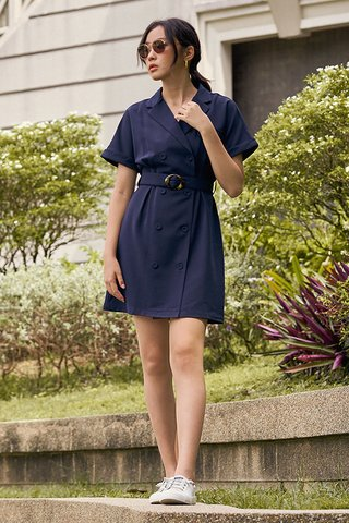Zann Sleeved Dress in Navy