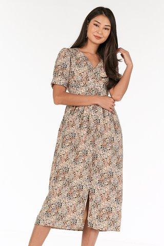 Mereen Belted Midi Dress in Cream