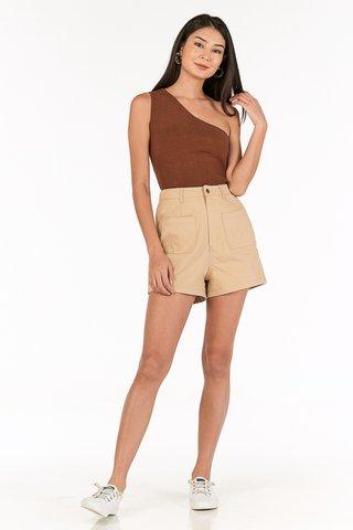 Branden Pocket Denim Shorts in Khaki