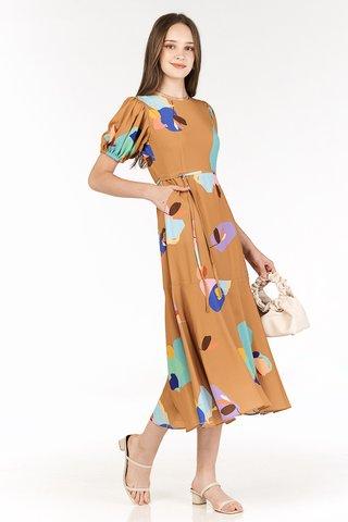 Ordell Sleeved Midi Dress in Caramel
