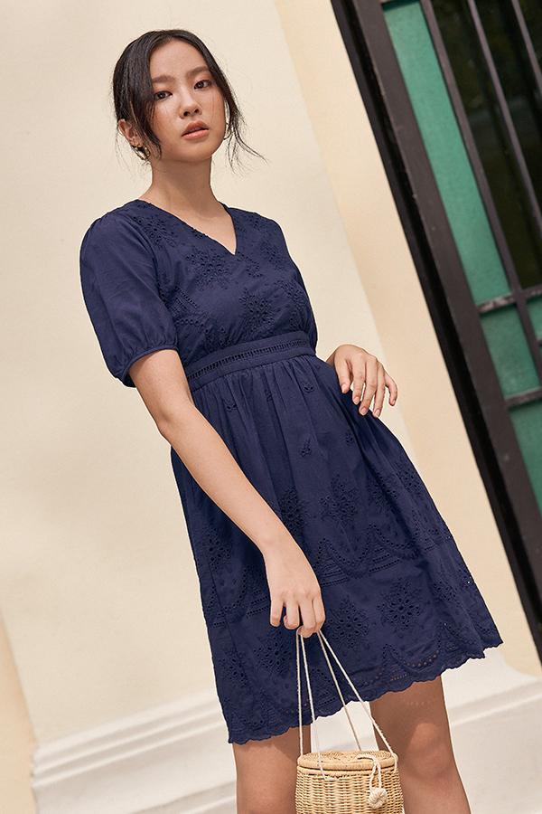 Audria Eyelet Dress in Navy
