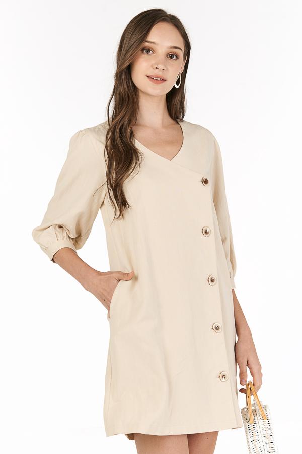 Jolice Linen Dress in Khaki