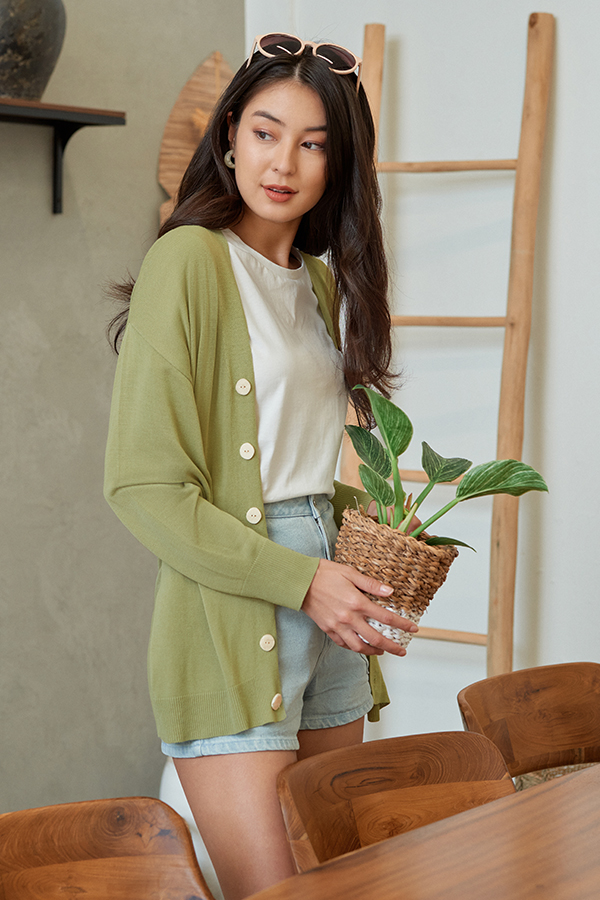 *Backorder* Dallen Knitted Cardigan in Sage