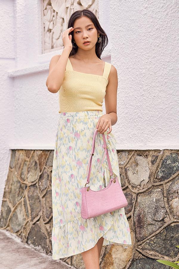 Charvine Ruffled Midi Skirt in Cream