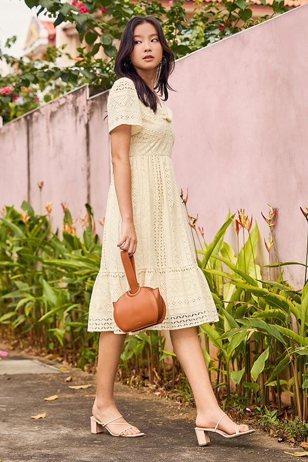 Nilya Eyelet Midi Dress in Cream
