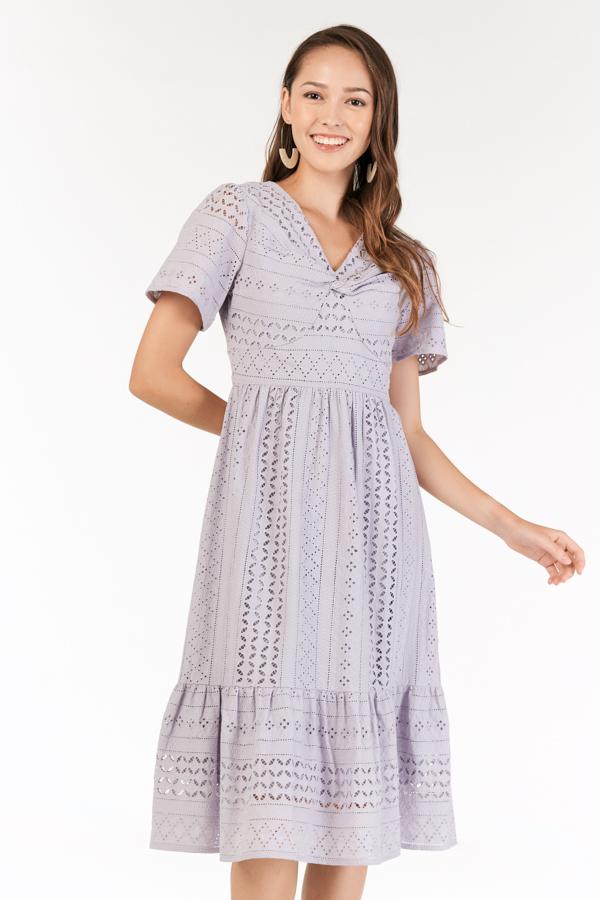 Nilya Eyelet Midi Dress in Lilac
