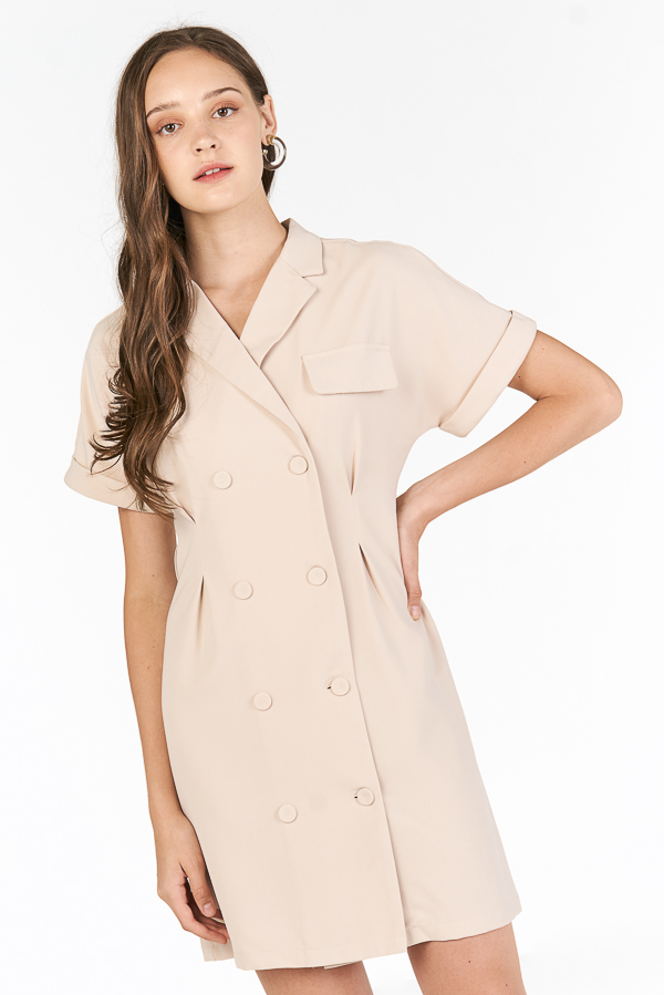 Zann Sleeved Dress in Khaki