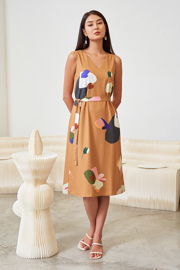 Ordell Two Way Midi Dress in Caramel