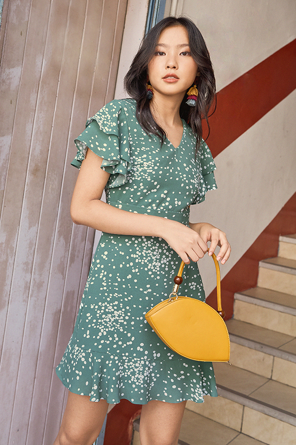 Relene Dotted Dress in Sea Green