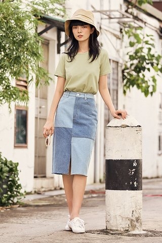 *Backorder* Ellan Denim Midi Skirt