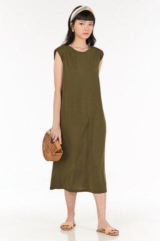 Anda Padded Midi Dress in Olive