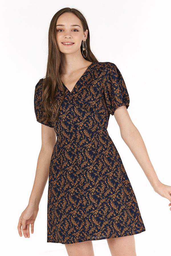 Lucilla Sleeved Dress in Navy