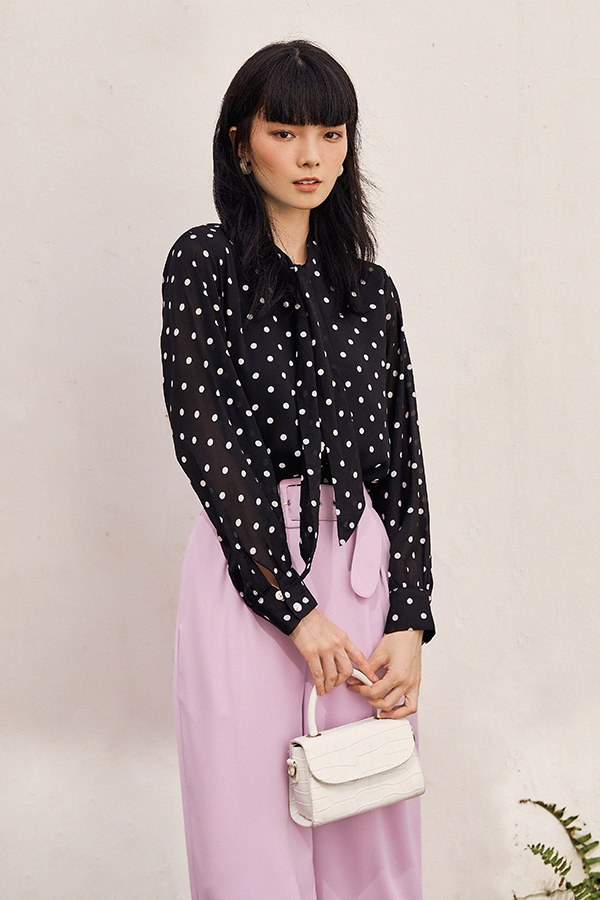 Freda Dotted Blouse in Black