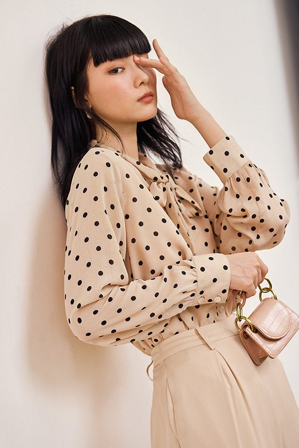Freda Dotted Blouse in Nude