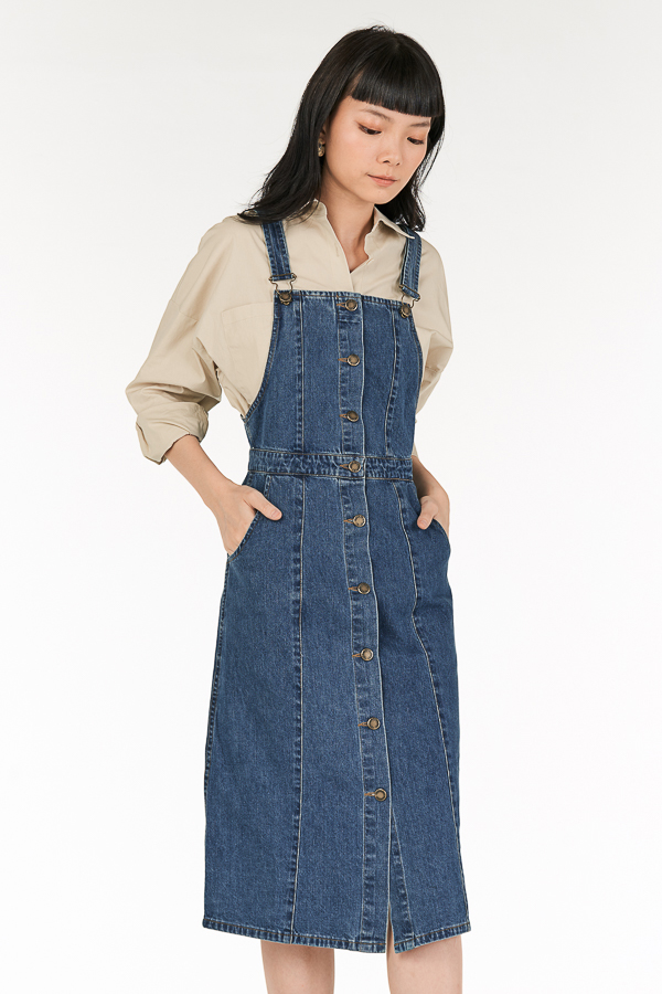 *Backorder* Braylon Denim Dungaree in Dark Wash