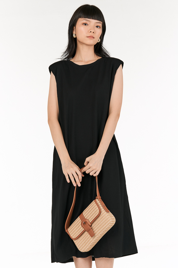 Anda Padded Midi Dress in Black