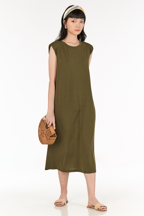 Anda Padded Midi Dress in Olive