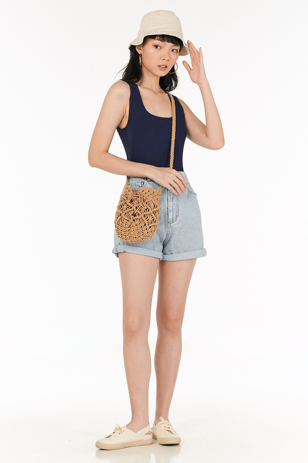 Edna Ribbed Tank in Navy