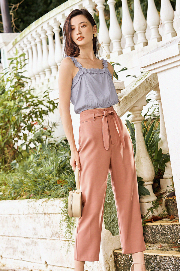 Kloss Belted Pants in Terracotta
