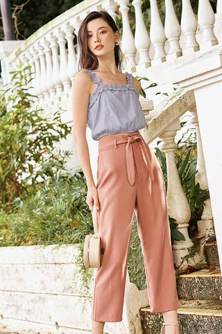 Kloss Belted Pants in Terracotta