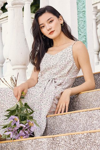 Rowella Slip On Midi Dress in Ivory