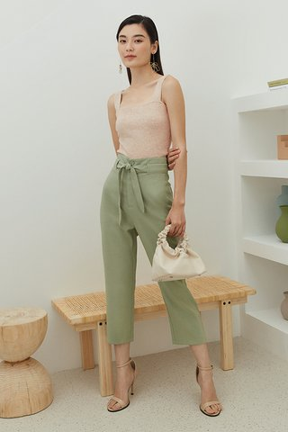 Kloss Belted Pants in Sage