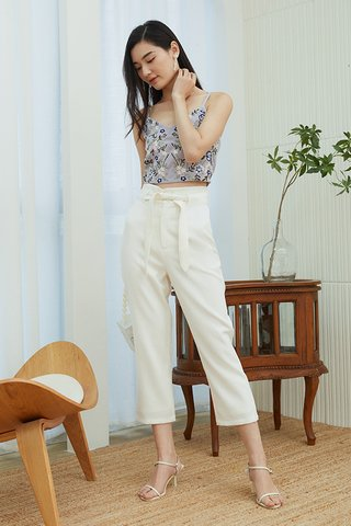 Kloss Belted Pants in White