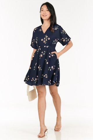 Ranosa Sleeved Dress in Navy