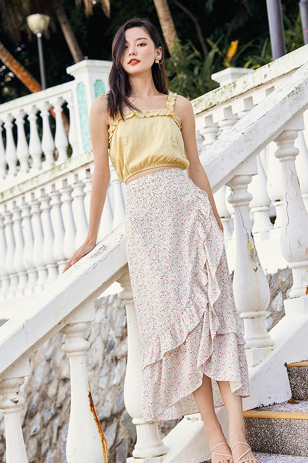 Rowella Midi Skirt in Ivory