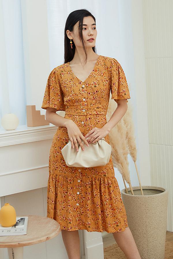 Hileda Midi Dress in Amber
