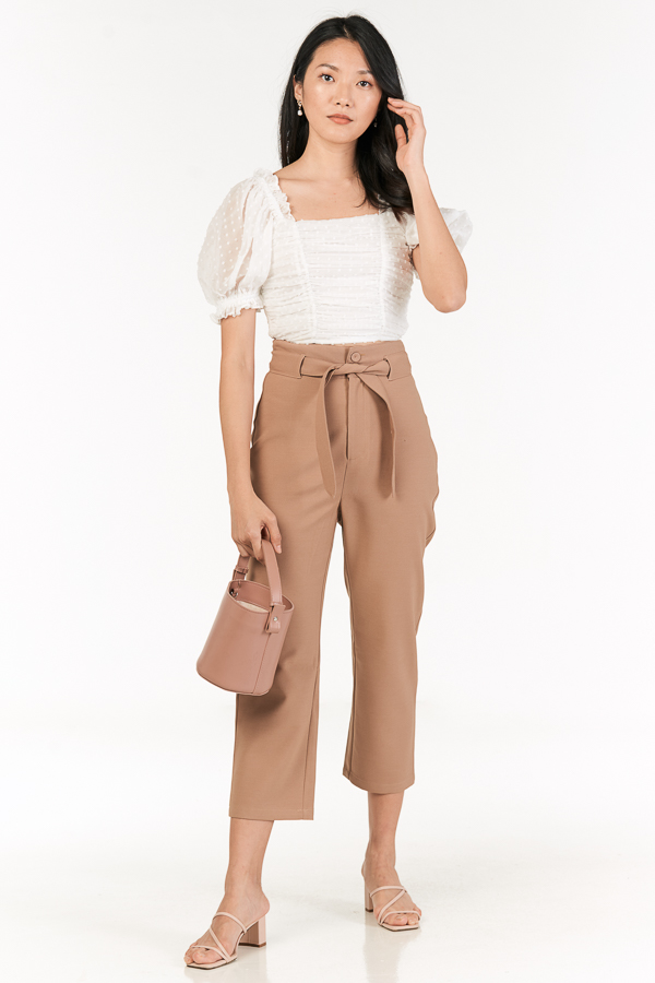 Kloss Belted Pants in Mocha