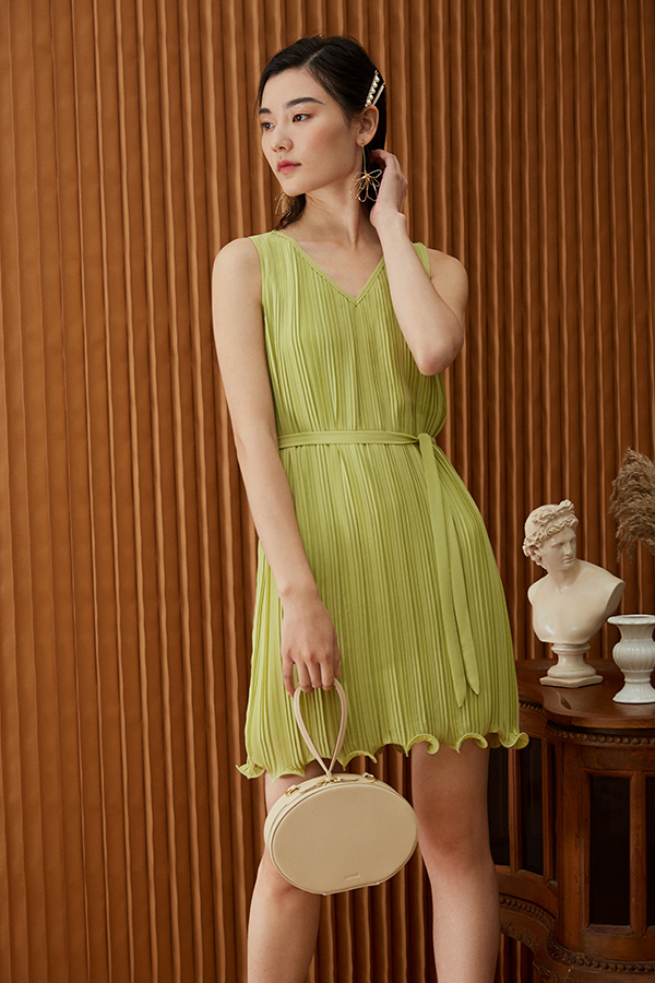 *Restock* Mandell Two Way Pleated Dress in Pistachio