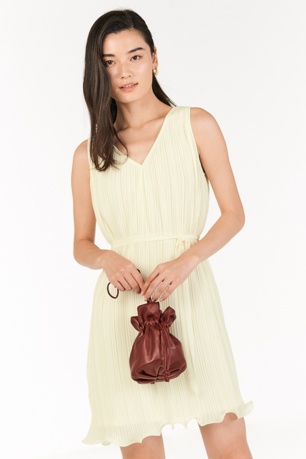 *Restock* Mandell Two Way Pleated Dress in Ivory