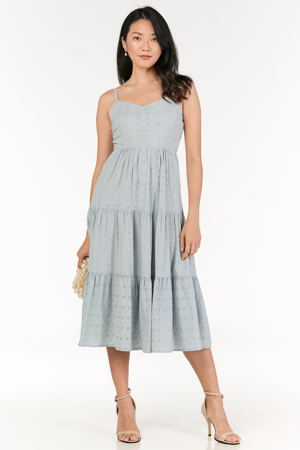 *Pre-Order* Clarida Eyelet Midi Dress in Pastel Blue