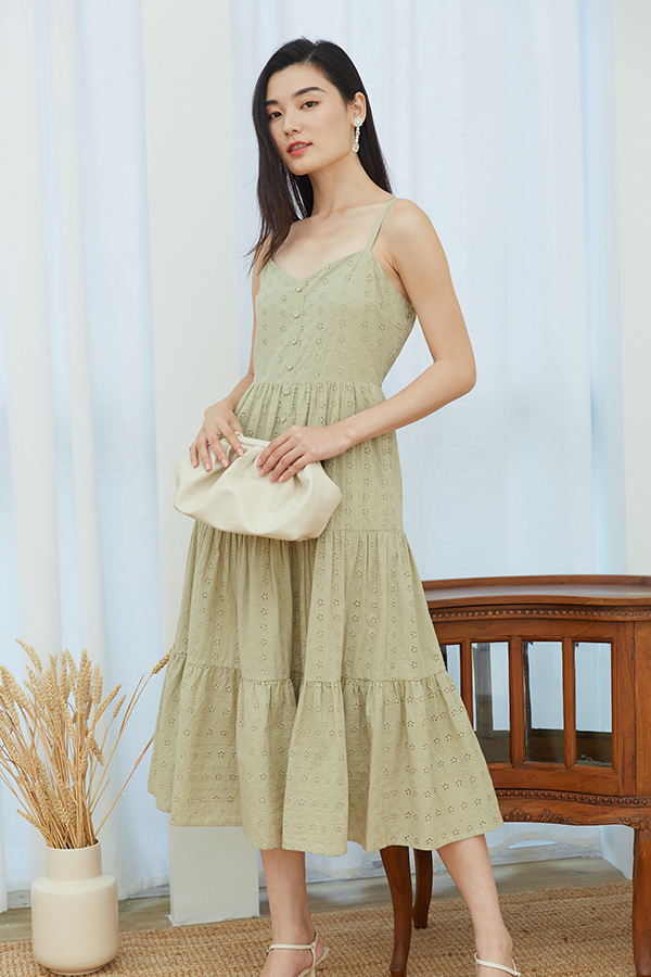 *Pre-Order* Clarida Eyelet Midi Dress in Sage