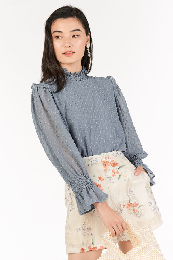 *Restock* Leia Blouse in Dusty Blue