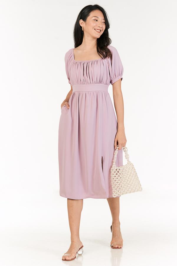 Jenn Midi Dress in Dusty Lilac