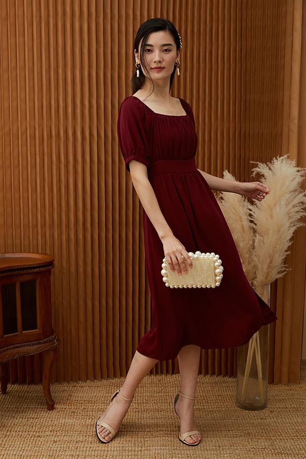 Jenn Midi Dress in Wine