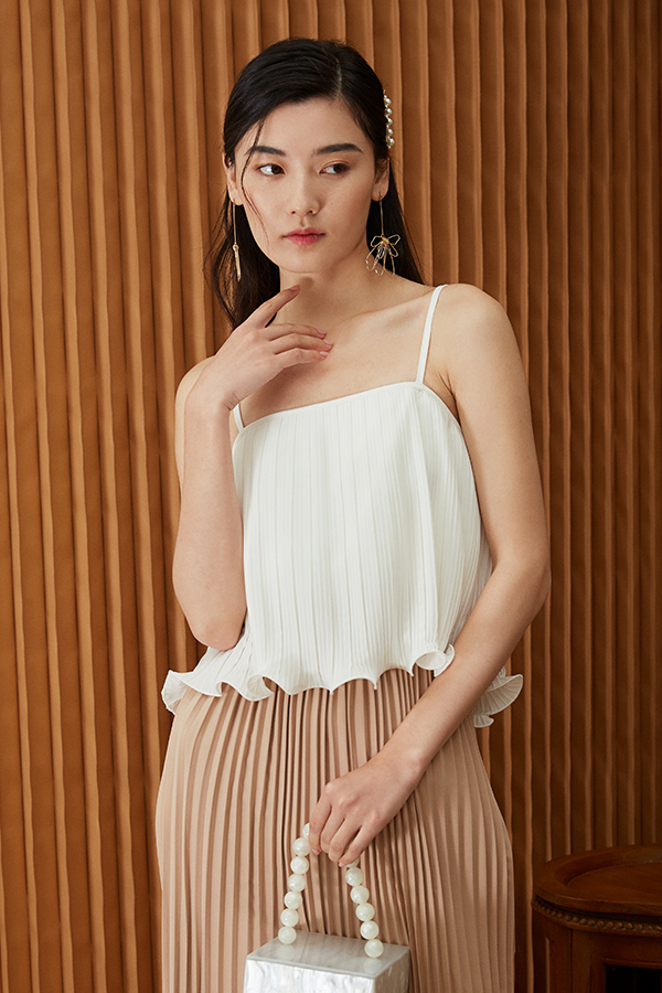 *Backorder* Ristelle Two Way Pleated Top in White