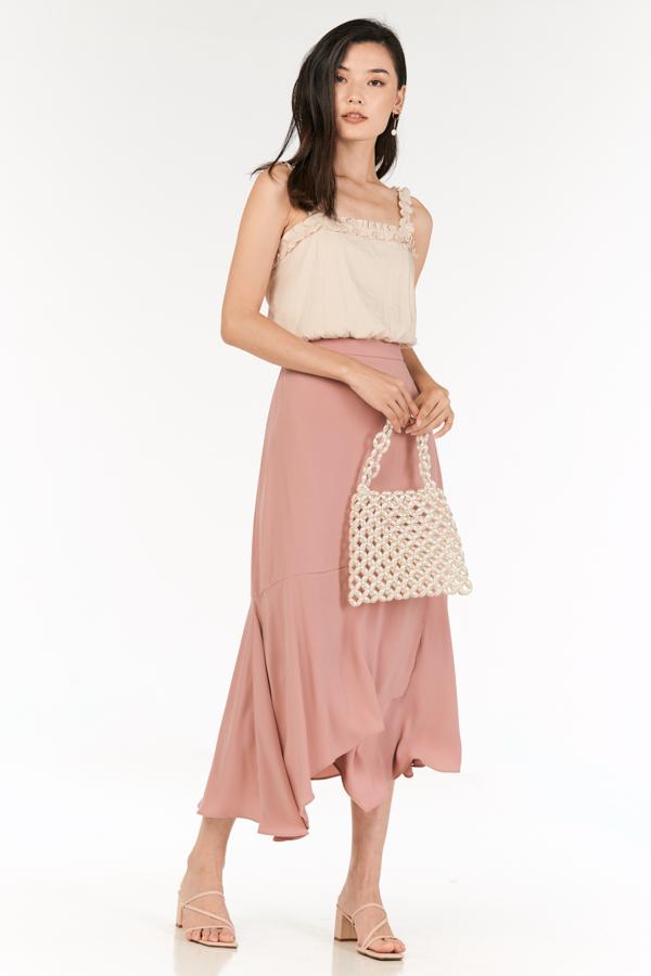 Erinna Midi Skirt in Dusty Pink