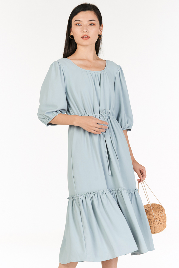 Drenna Midi Dress in Pastel Blue